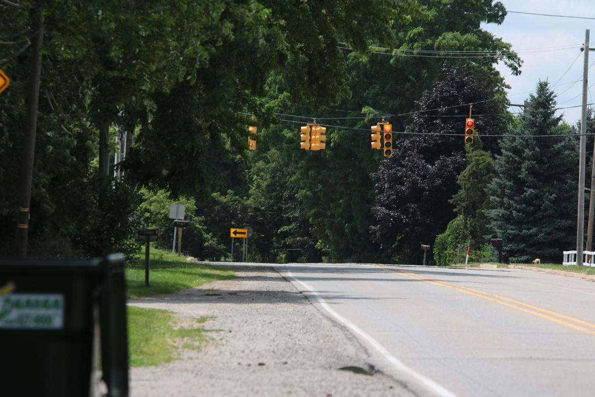 Stop light at entrance to Linden schools