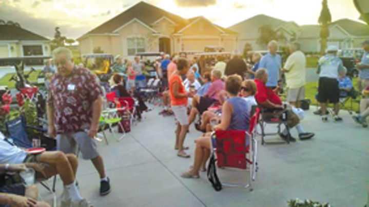 Neighborhood driveway parties are a common event at The Villages.