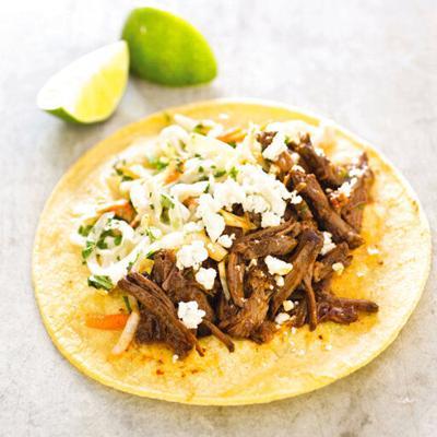 Short rib beer tacos