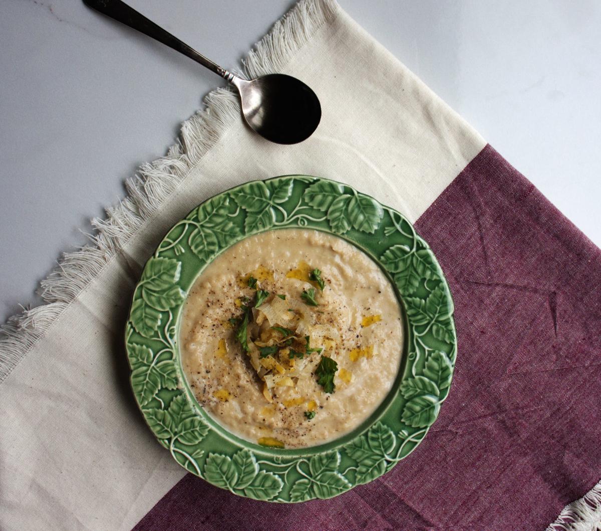 Silky leek soup horizontal