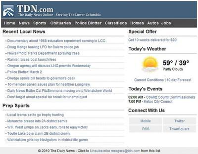 tdn.com Newsletter Screen Shot