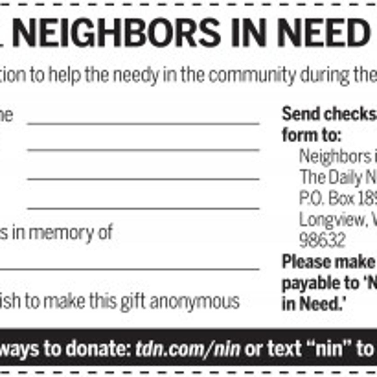 2011-12 Neighbors in Need Drive Donors List | | tdn com