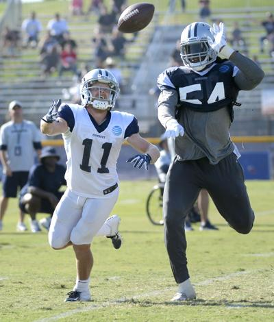 Dallas Cowboys linebacker Jaylon Smith (54) defends as wide receiver Cole Beasley (11) can't make the catch during the afternoon practice at training camp in Oxnard, Calif., on August 4, 2018.
