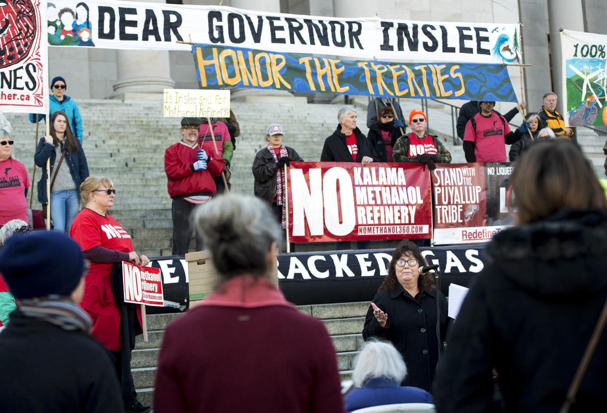 Protesters descend on  Olympia to  contest fracking, methanol plant