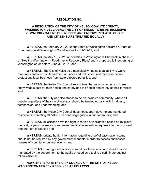 Kelso Proposed Resolution vaccine segregation