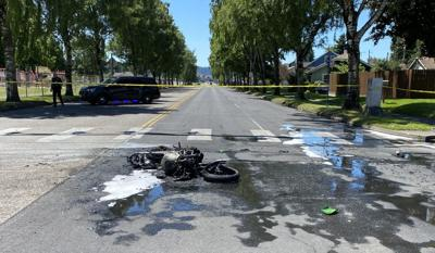 Destroyed motorcycle