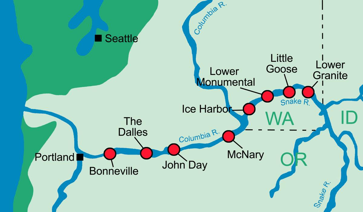 Lower Snake River Dams map