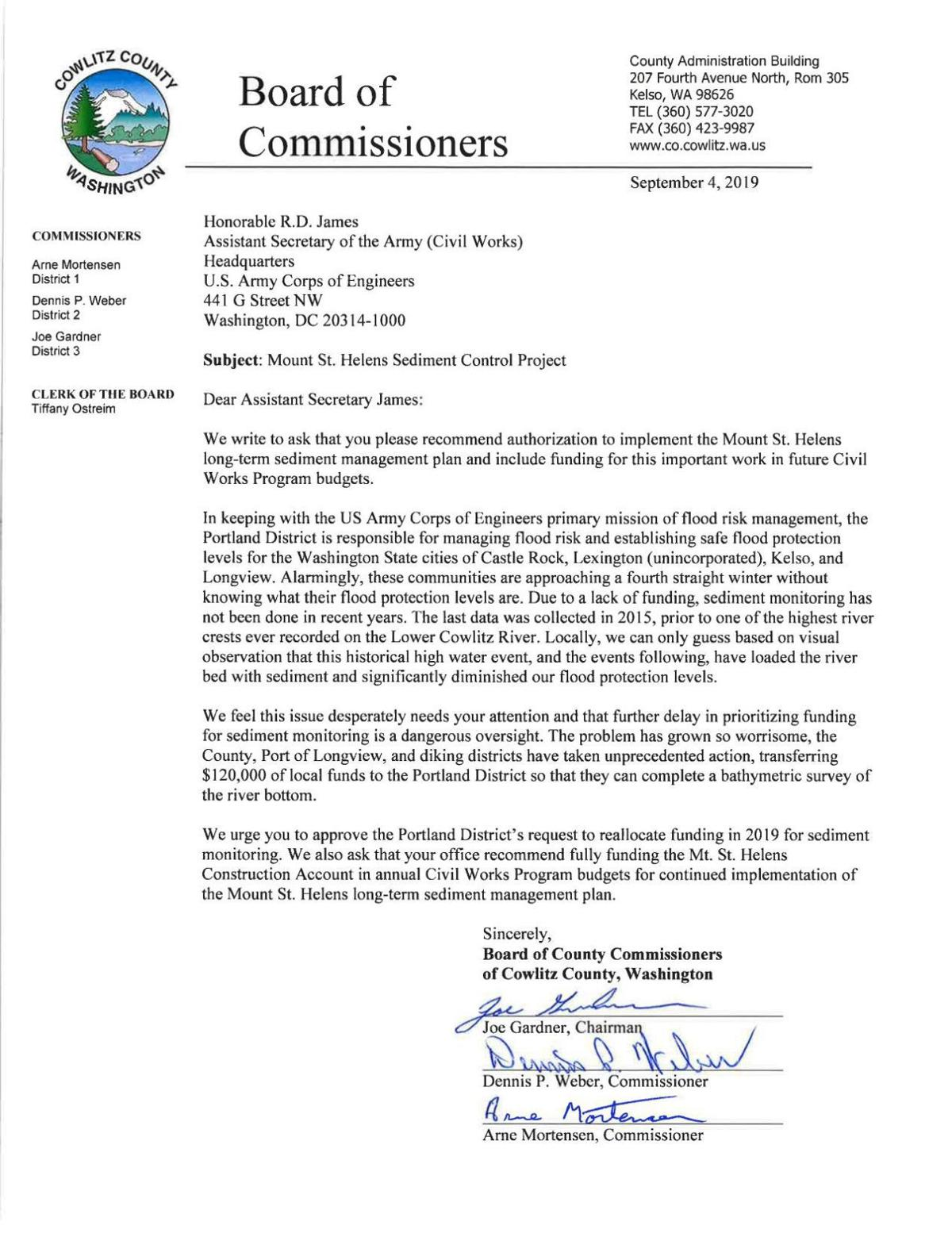 Cowlitz County commissioners letter to the U.S. Army Corps of Engineers