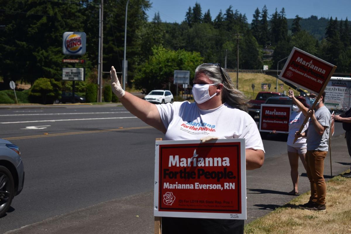 Marianna Everson sign waving