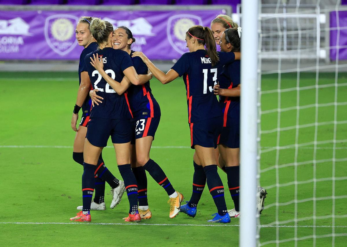 The United States' Christen Press celebrates a goal during a match in the SheBelieves Cup at Exploria Stadium in Orlando, Florida, on Wednesday, Feb. 24, 2021.