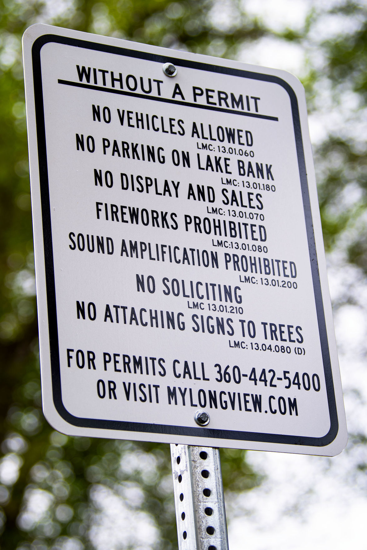 Without a permit sign