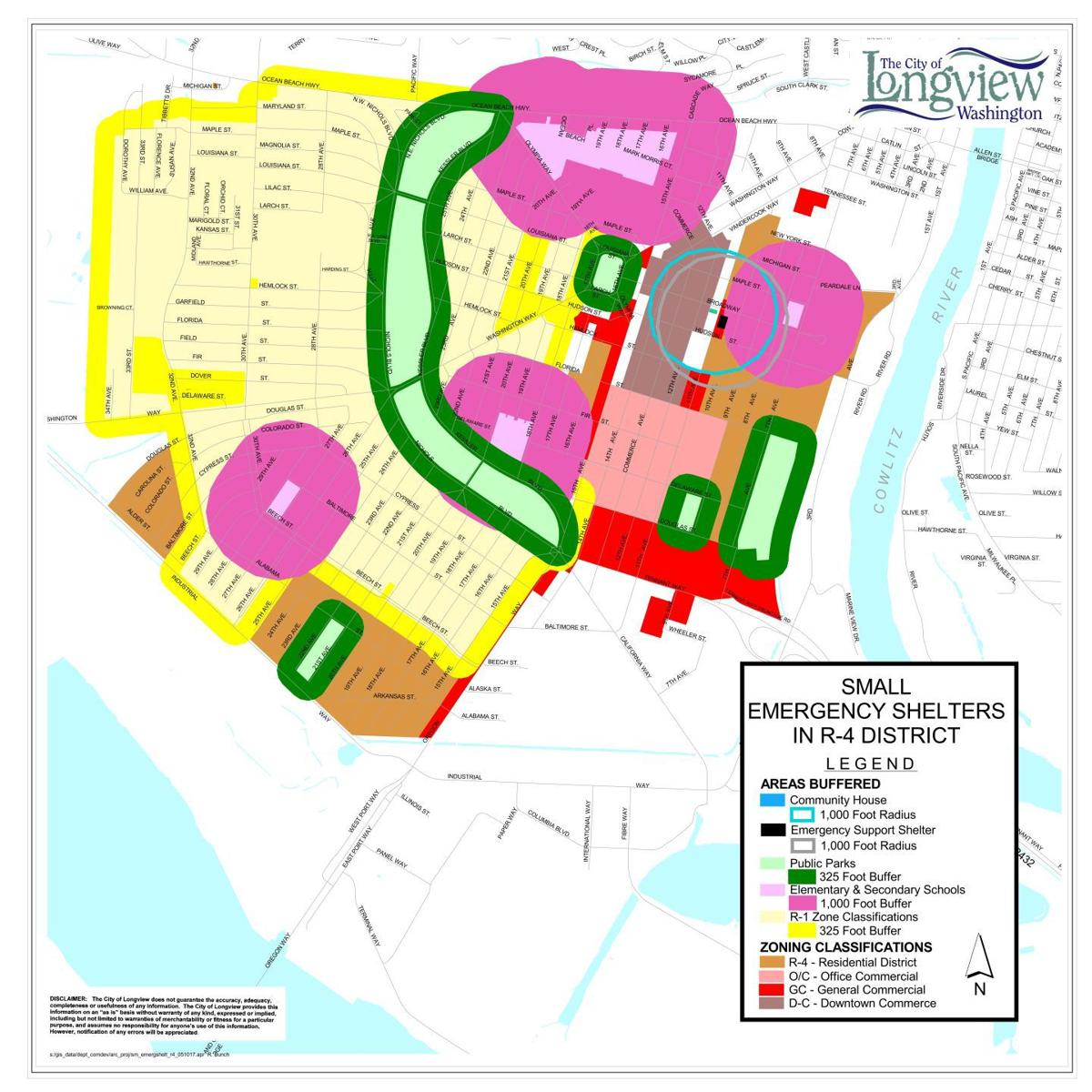 Longview emergency homeless shelter zoning map