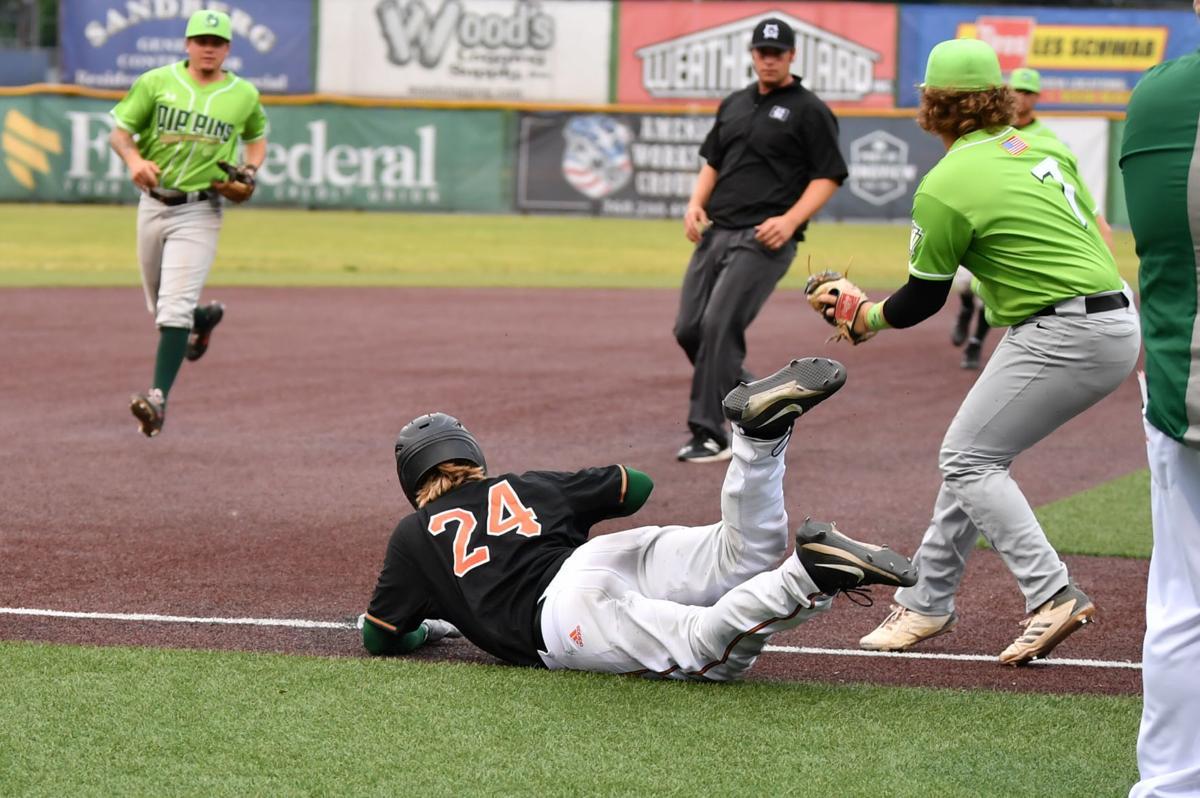 Seth Beckstead dances between bases