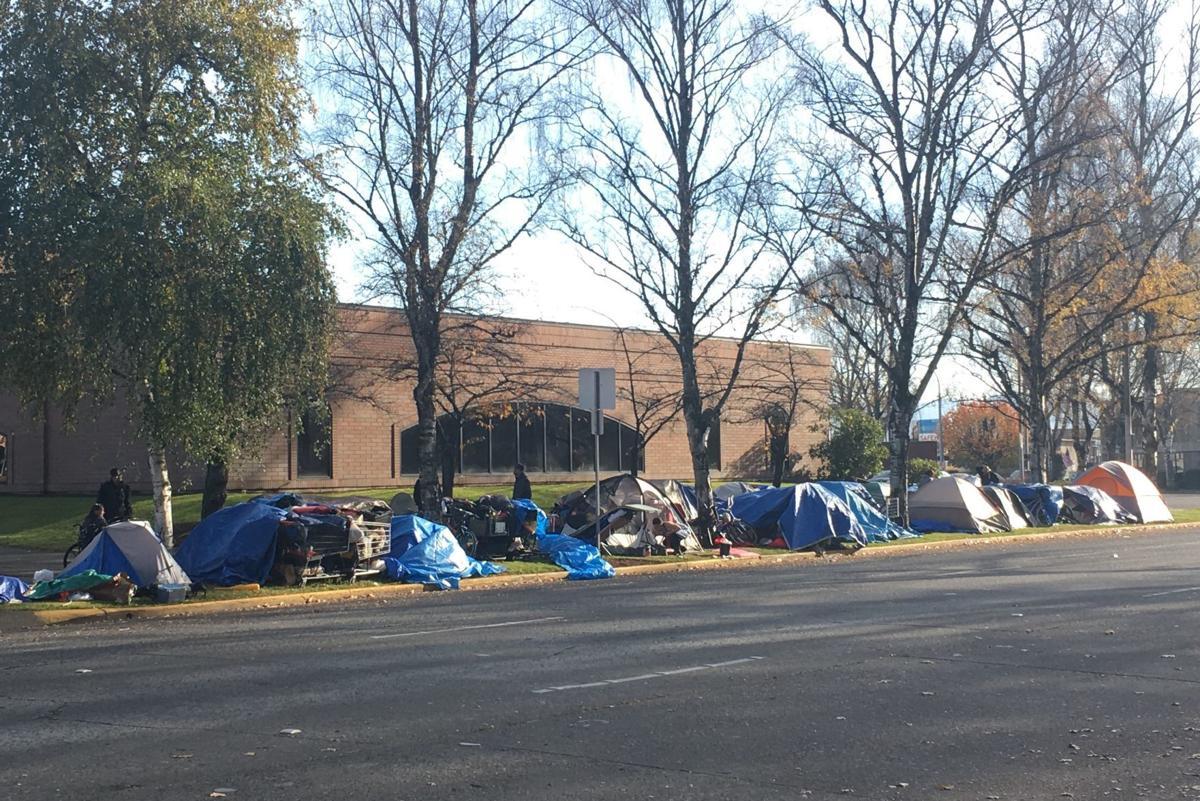 Homeless tents outside Longview City Hall