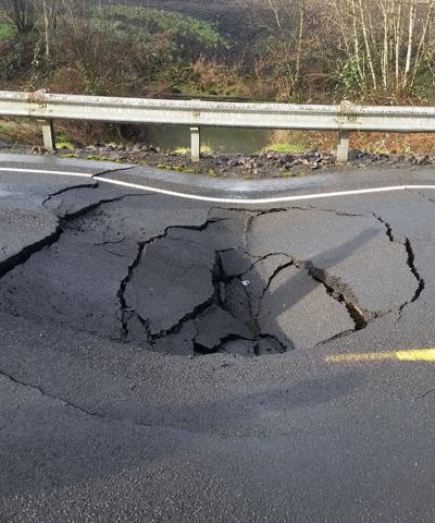 Pleasant Hill Road damage in February
