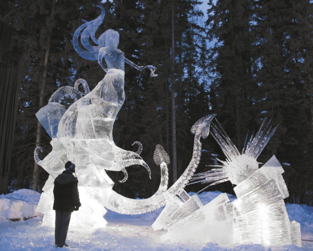 ral grad works on winning team at world ice carving contest