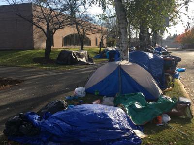 Tents set up outside Longview City Hall