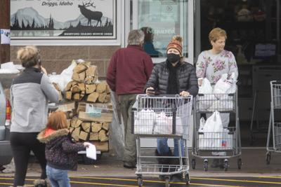 Shoppers wear masks at the locak grocery store in Driggs, Idaho