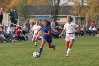 Sugar-Salem's Ellie Puzey outruns a Teton defender for the ball in the Diggers 3-0 over the Timberwolves Wednesday.
