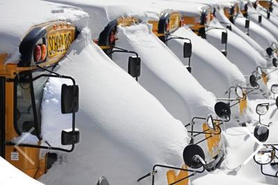 School buses bus school closed stock image file photo winter storm snow east idaho