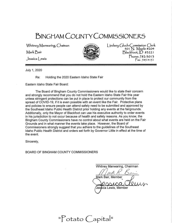 Bingham County letter