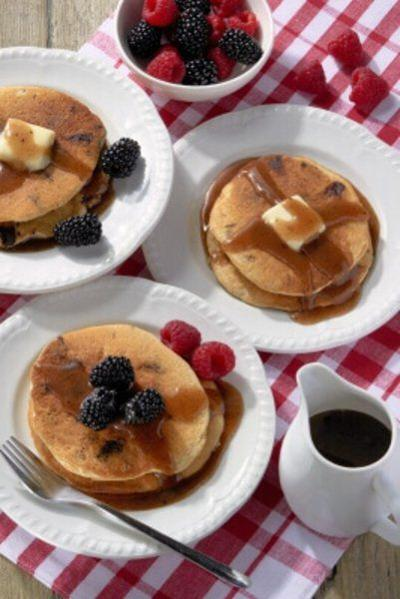 Chocolate chunk pancakes with honey-cinnamon syrup