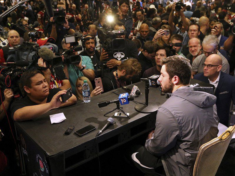 Mayfield meets the press
