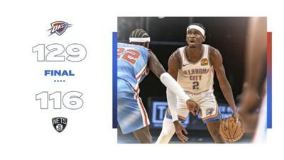 Thunder defeat Durant-led Brooklyn Nets