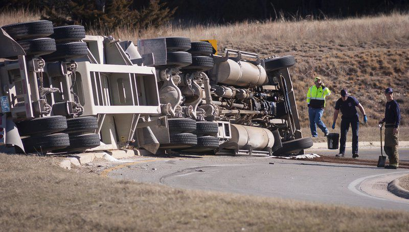 Sand truck rollover blocks J.A. Richardson Loop exit