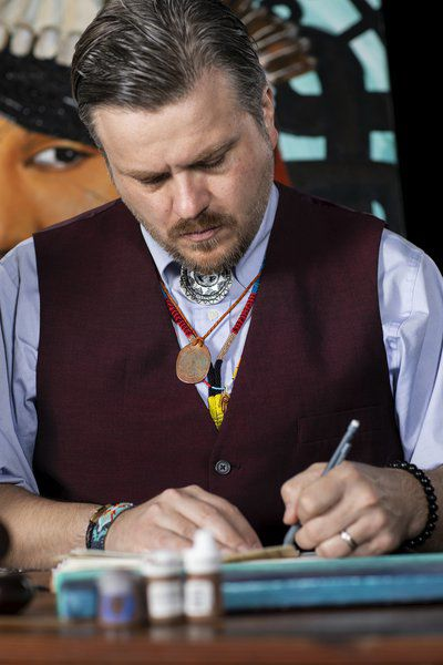 Chickasaw artist Dustin Mater channels inspiration into portraits, ledger art