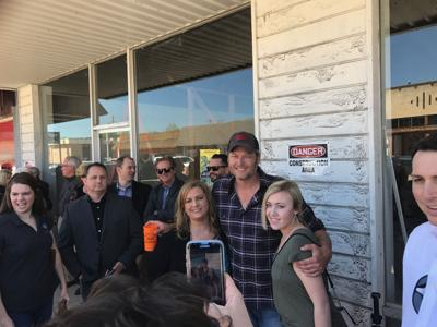 Blake Shelton Takes A Minute To Meet With Fans In Downtown Tishomingo Monday As He And Others Announced New Restaurant Bar There Called Ole Red