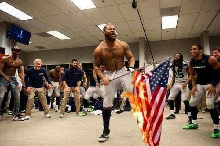 FAKE: Michael Bennett did not burn the American Flag