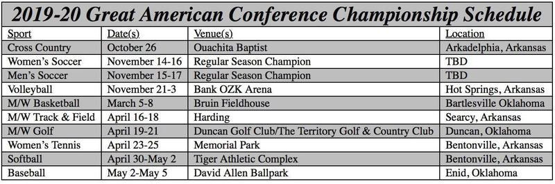 GAC conference announces championship dates and venues