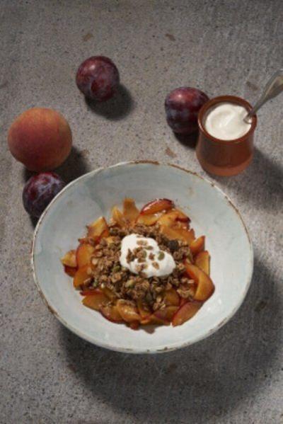 Caramelized stone fruits with granola and yogurt