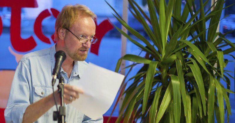 Richard R. Barron speaks during Open Mic Nyte