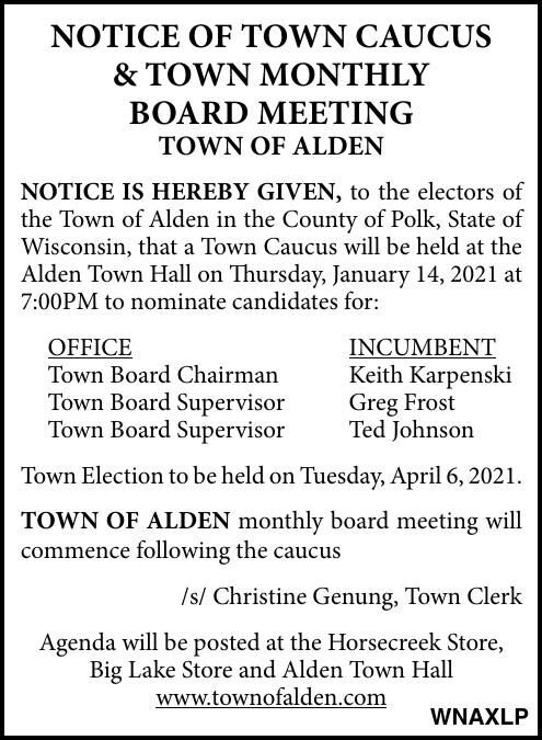 Town of Alden - Notice of Caucus