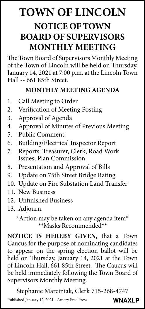 Town of Lincoln - Meeting Notice