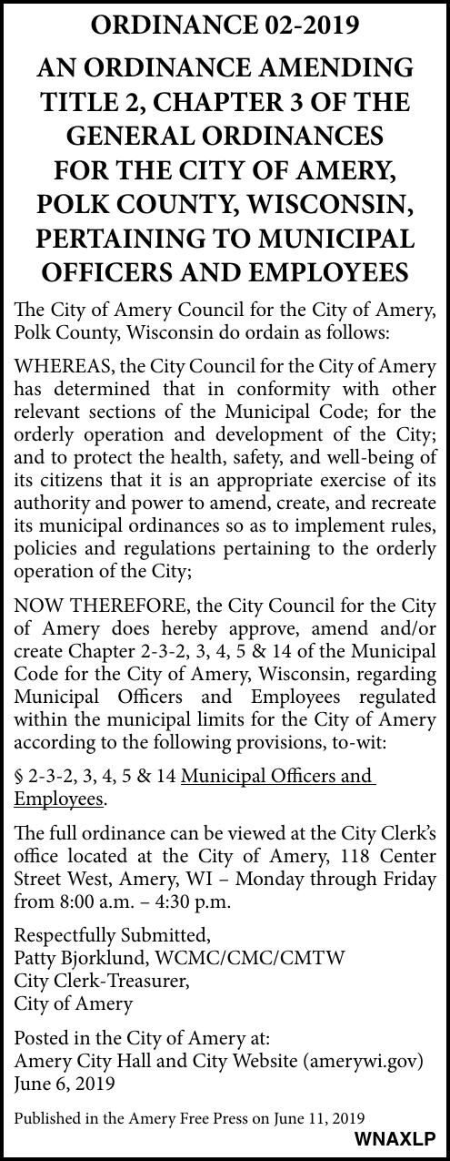 City of Amery - Ordinance 02-2019