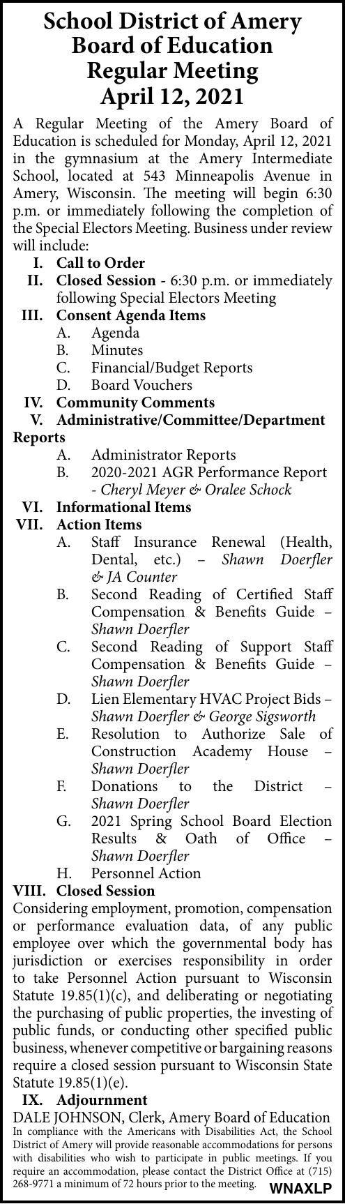 SDA - School Board (April 12)
