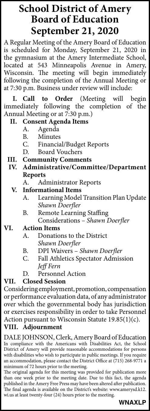 SDA - School Board Agenda
