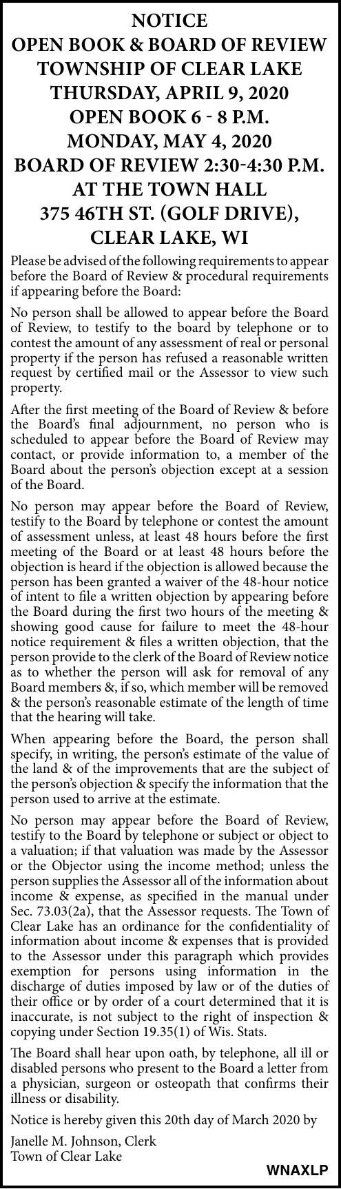 Town of Clear Lake - Open Book/Board of Review