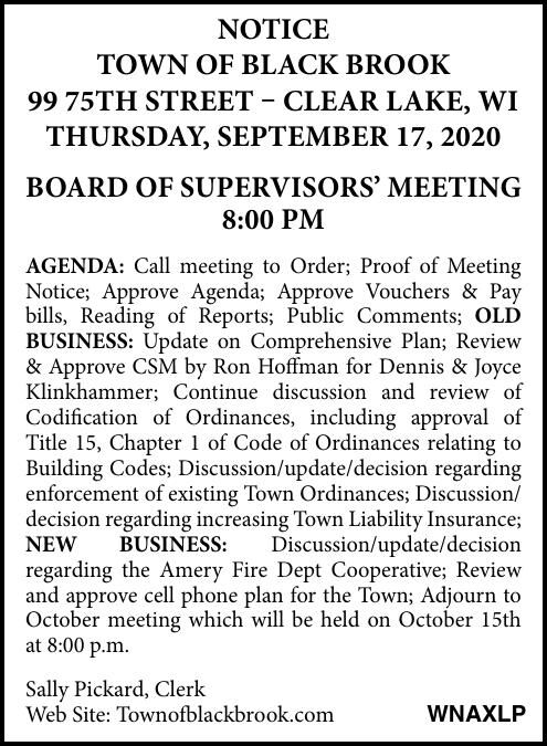 Town of Black Brook - Meeting Notices