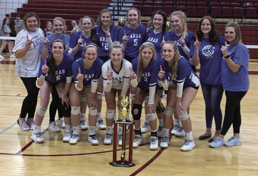 Arab varsity volleyball team wins county title