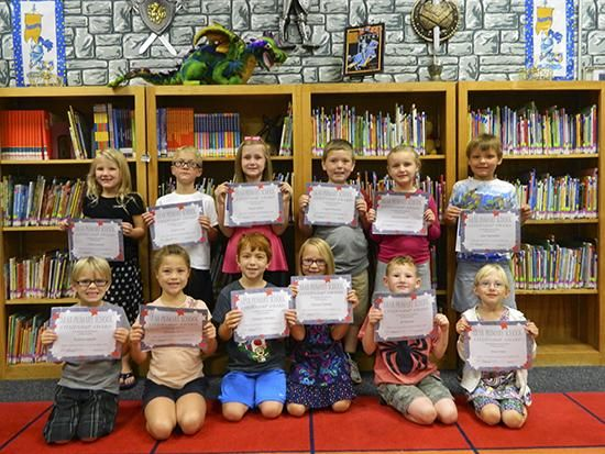 First grade citizenship winners for September at Arab Primary School are: from left front, Kolton Hardin, Serenity Dorn, Graeson Harden, Kamryn Partain, JP Parmer, Maci Mier; back, Claire Cantrell, Grant Cole, Skylar Terrell, Logan Wooten, Abbilea Hyatt, Alex Highsmith.
