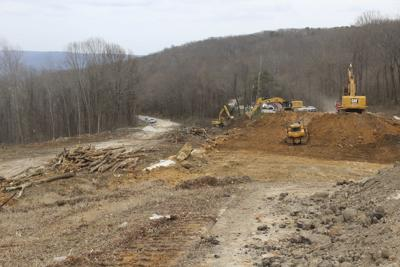 Crews working this week to remove material from U.S. 231 (looking north).