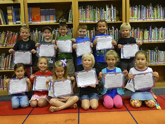 Kindergarten citizenship winners for September at Arab Primary School are: from left front, Maggie Watts, Abigail Tipton, Nora Cooper, Ella Kate Morrow, Lela Hipp, Ella Grace Rigsby; back, Dylan Whitehead, Colbey Bryan, Hayden Frachiseur, Chase Miller, Karson Logan, Dylan Highsmith