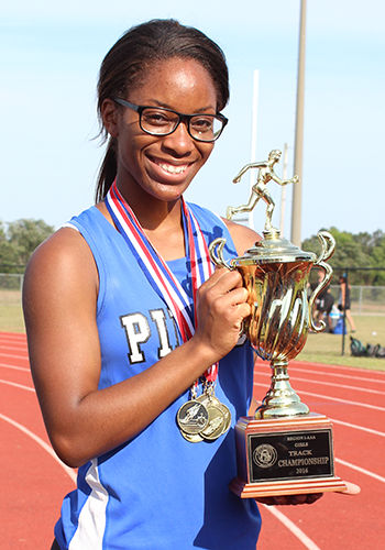 Shaw leads Lady Bears to track championship #2 4-27-16