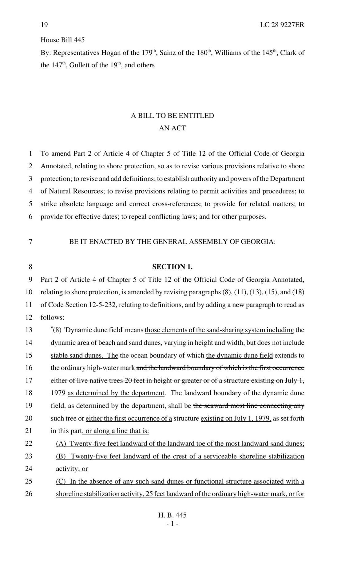 House Bill 445 (First Version)