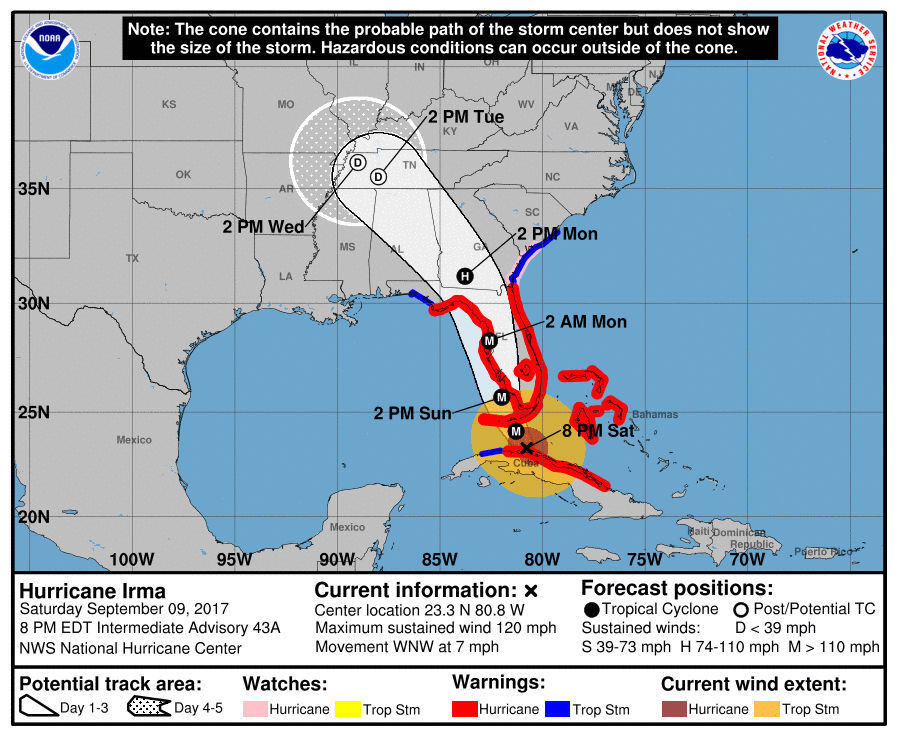 Irma: Carolinas, coastal Georgia going on emergency footing