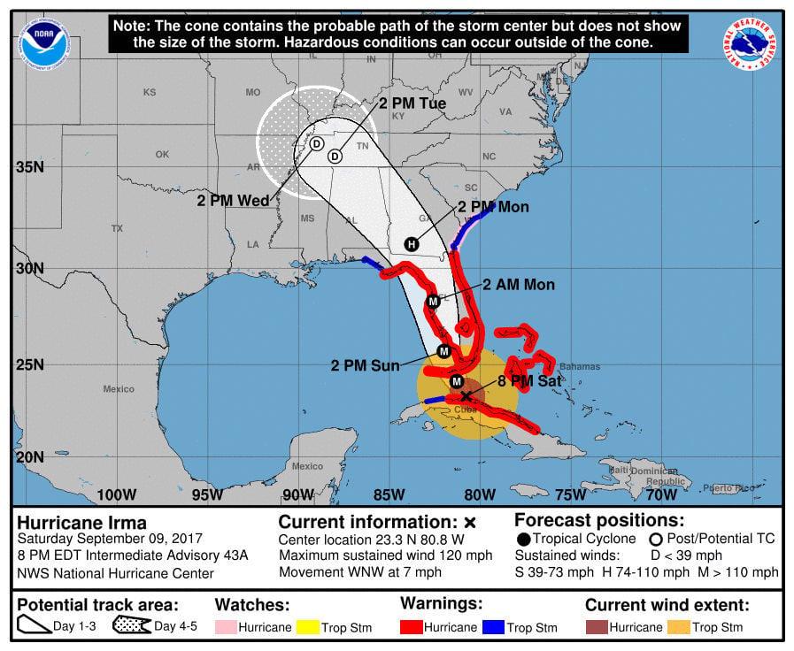 Irma: Carolinas, coastal Georgia going on emergency footing
